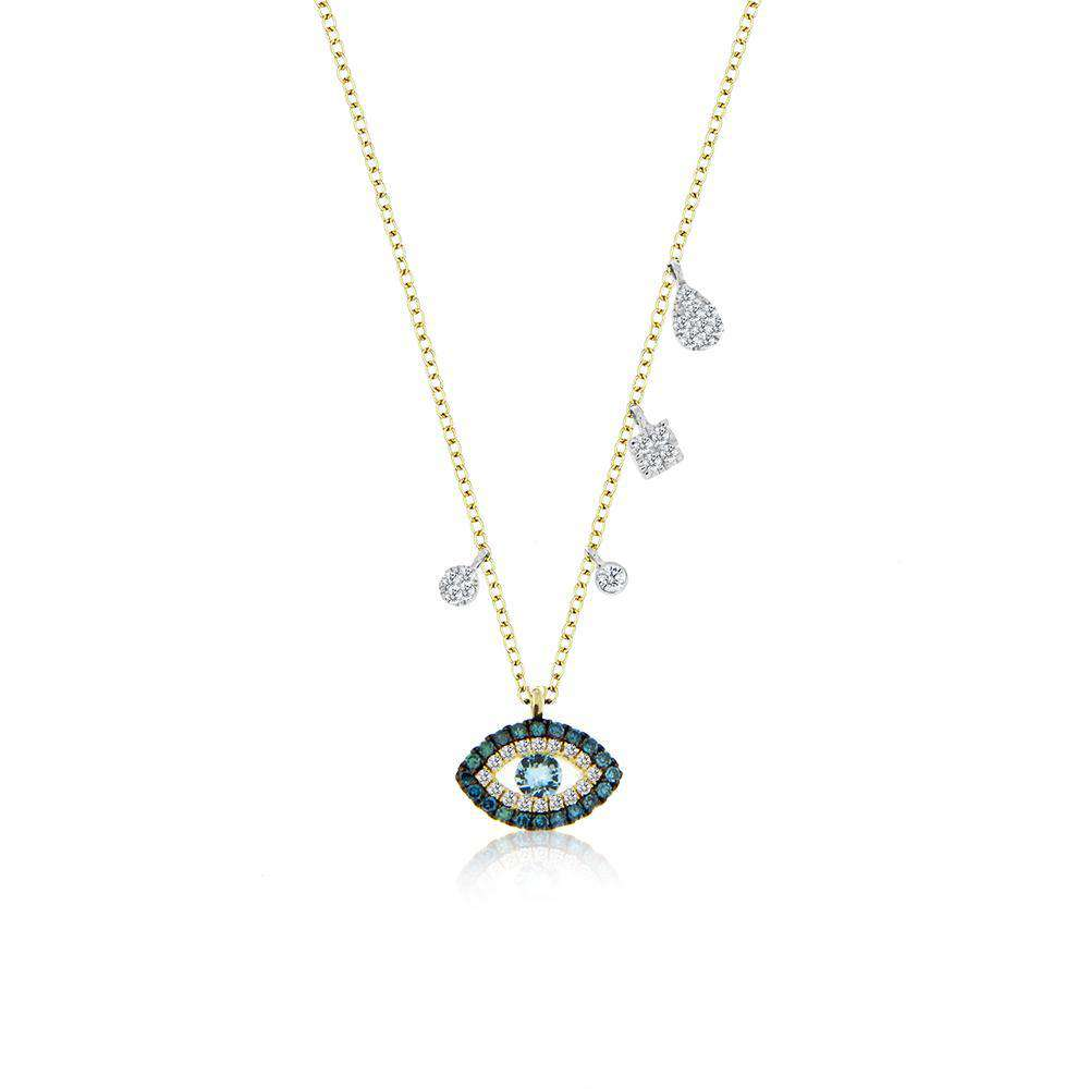 Meira T Blue Diamond Evil Eye Necklace