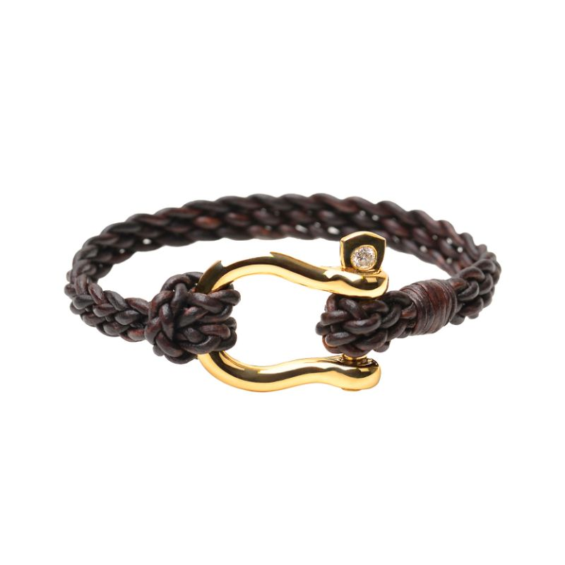 Vincent Peach Gold Shackle Bracelet