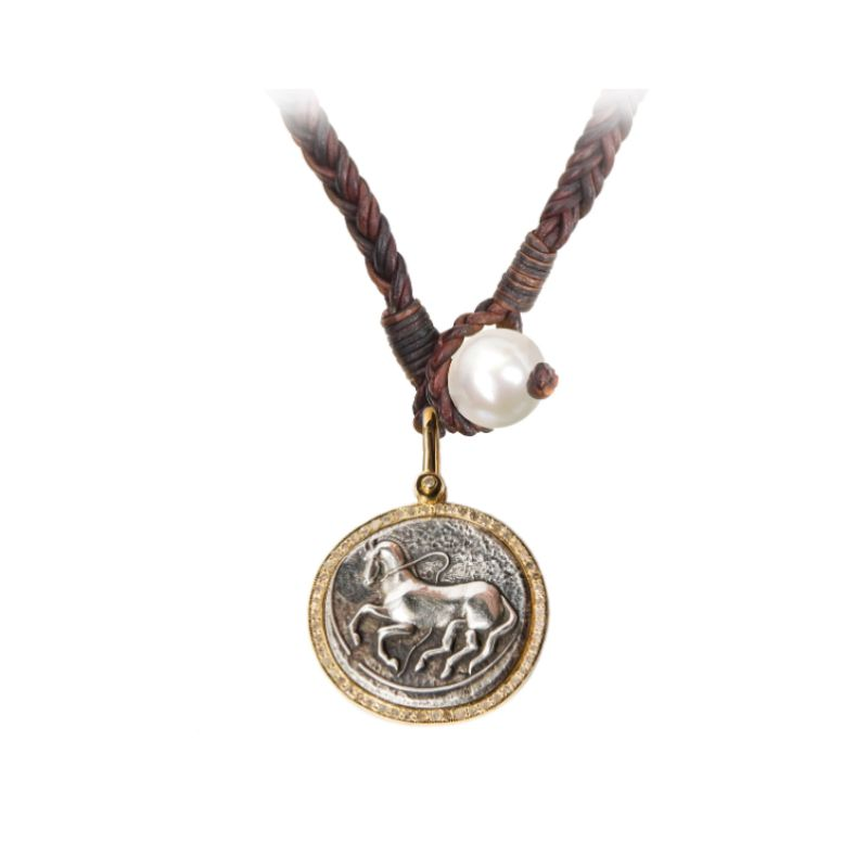 Vincent Peach Trojan Coin Necklace